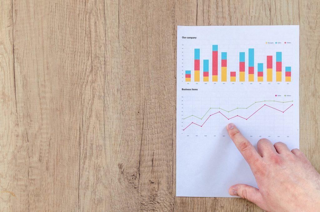 Бумажный график на доске отражает изменения алгоритма во времени