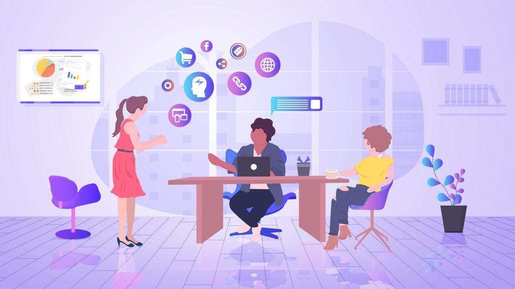 команда обсуждает тактики контент-маркетинга на 2020 год