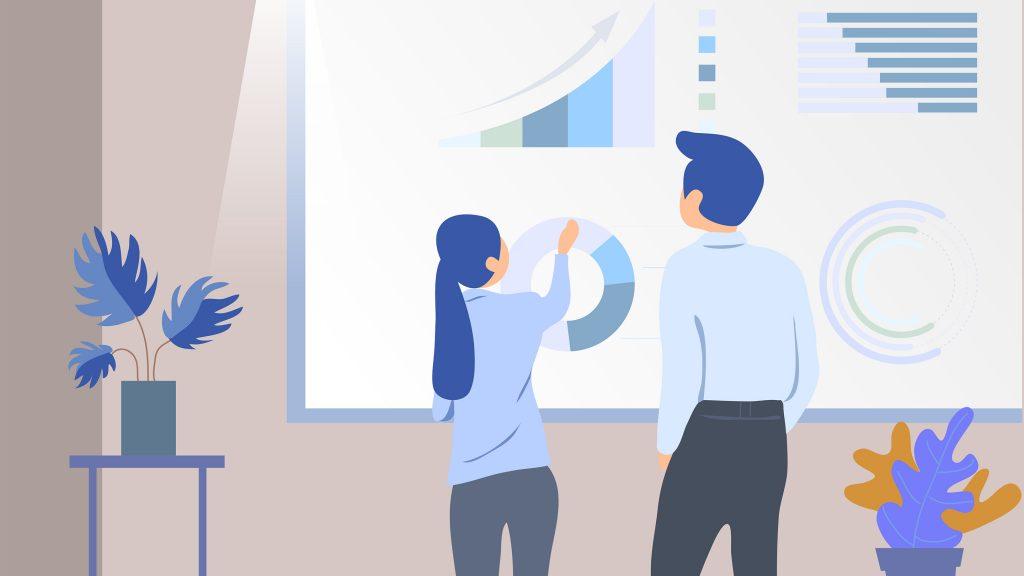 оптимизаторы анализируют графики и результаты продвижения сайта на доске