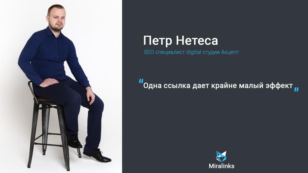 Одна ссылка дает крайне малый эффект: интервью с SEO-специалистом Петром Нетесой